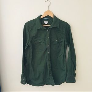 Merona Dark Forest Green Button Down Blouse Large